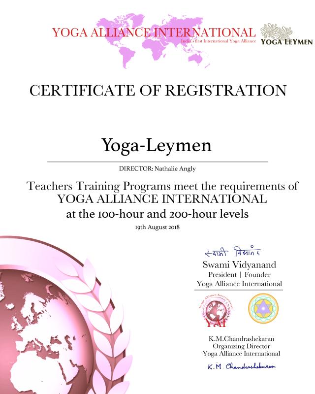 YOGA LEYMEN france SCHOOL Level Certificate_Rev